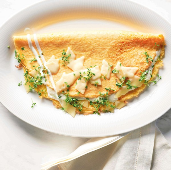 Skagen-Rezept: Käseomelett mit Kräutercreme
