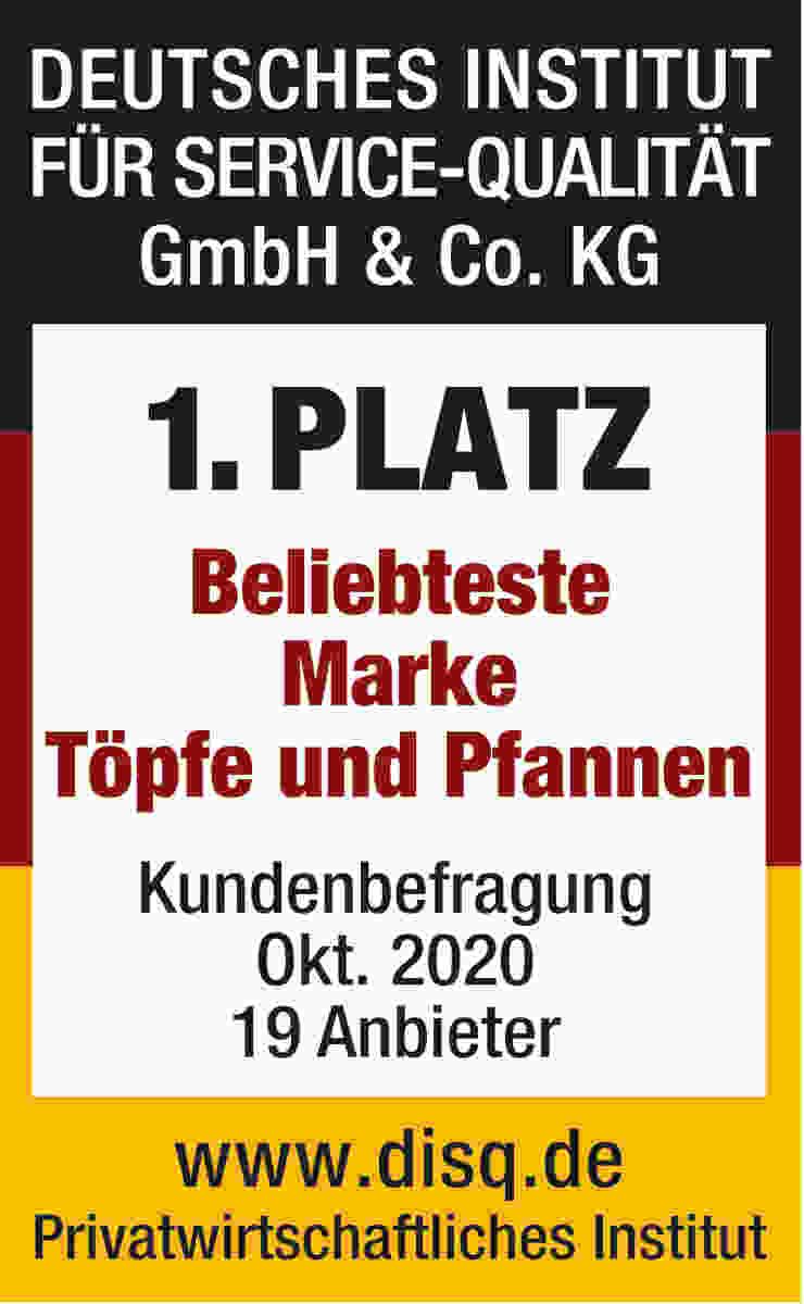 1. Platz – Beliebteste Marke Töpfe und Pfannen, Kundenbefragung Oktober 2020