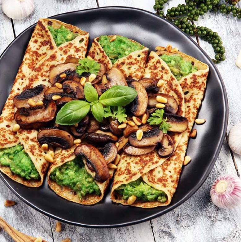 Rezept: Crêpes mit Spinat-Pilz-Füllung